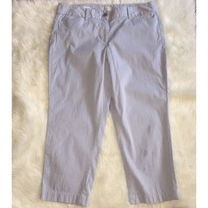 LOFT white and blue pinstriped cropped pants